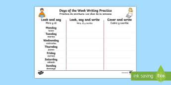 Days of the Week Writing Practice Activity Sheet English/Spanish - worksheet, Days of the Week Writing Practice Worksheet - practice, writing, days of the wek, days pf