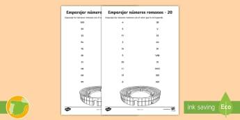 Ficha de actividad: Emparejar números romanos - numeración romana,cifras, mates, matemáticas, dibujar, dibuja, dibujo, coliseo, Spanish