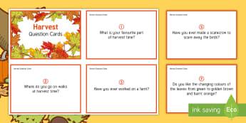 Harvest Question Cards - Autumn, Seasons, Display, September, October, November, Leaves, Harvest, Activity Co-ordinators, Sup