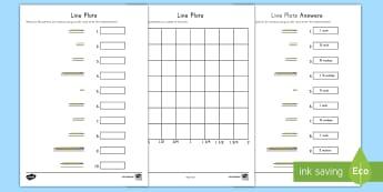 Measuring Pencils Line Plot Activity - measurement, data, line plot, graphing, fractions, number line