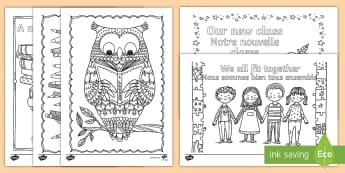 Back to School Themed Colouring Pages English/French  - Back to School Themed Mindfulness Coloring - adult colouring, returning, new starters, academic year