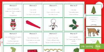 What Am I? Christmas Guessing Game - winter, speaking and listening, problem solving, december, celebrations, activity