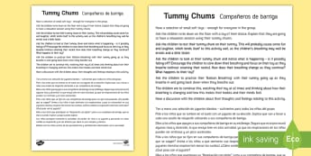 * NEW * Mindful Me: Tummy Chums Activity - English / Spanish - EAL, Mindfulness, growth mindset, resilience, Spanish-translation