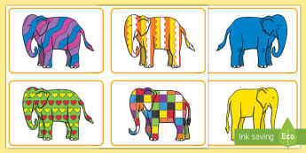 Picture Cards to Support Teaching on Elmer's Special Day  - Elmer, David McKee, colour, pattern, colour recognition, elephants Elmer's Day, Elmer's Special Da