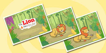 The Lion And The Mouse Story Sequencing - story, lion, mouse