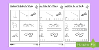 Find and Write the oe Words Differentiated Activity Sheets -  - Phonics activity, phase 3, letters and sounds, igh sound, find the sound, sort the pictures, write t