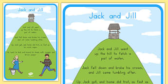 Jack and Jill Nursery Rhyme Poster - australia, rhyme, poster