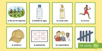 Sports Day Matching Cards Spanish - Spanish, KS2, sports, day, matching, cards