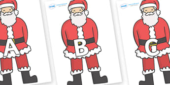 A-Z Alphabet on Father Christmas - A-Z, A4, display, Alphabet frieze, Display letters, Letter posters, A-Z letters, Alphabet flashcards