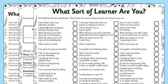 What Sort of Learner Are You? VAK Questionnaire - visual, auditory, kinaesthetic, learning, style, KS1, questionnaire