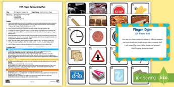 EYFS 2D Shape Sorting Treasury Tag Finger Gym Plan and Resource Pack - EYFS Sorting, mathematics, shape space measure, beginning to categorise objects according to propert