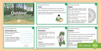 KS2 Take it Outside Maths Challenge Cards - Outdoor, Learning, Classroom, Site, woodland, forest, schools
