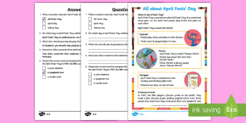 KS1 April Fools' Day Differentiated Reading Comprehension Activity - EYFS,KS1, April Fools' Day, 1st April, KS1, Year One, Year Two, Y1, Y2, Year 1, Year 2, reading com