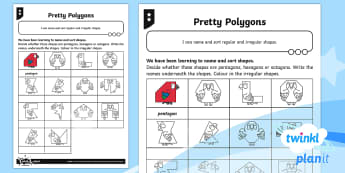 * NEW * PlanIt Maths Y2 Properties of Shapes Pretty Polygons Home Learning Tasks - 2D shape, 3D shape, everyday objects, real life shapes, homework,maths mastery, concrete, abstract,