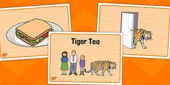 The Tiger Who Came to Tea Story Sequencing - tiger, sequencing, visual aids, story sequencing, tea, the tiger who came to tea, word mat, writing aid, mat, play, Judith Kerr, girl, story book