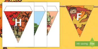 Herfs Letters Versierings vir die Klaskamer  - blare, seisoen, kleure, bruin, geel, groen, rooi, briesie