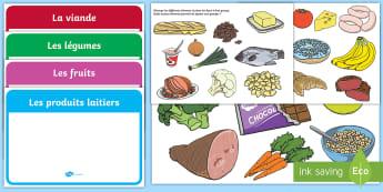 Feuille d'activités : Les groupes alimentaires - nutrition, alimentation, régime, sain, cycle 2,French