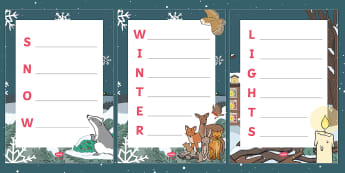Ten Little Lights Acrostic Poem Activity Sheets - Twinkl Originals, Fiction, Christmas, Winter, Snow, Cold, KS1, EYFS, Writing, worksheets