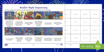 KS1 Bonfire Night Sequencing Activity Sheet - 5th November, Bonfire, Fireworks, Sparklers, Guy Fawkes