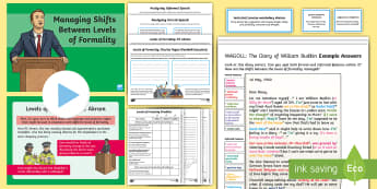 Managing Shifts Between Levels of Formality Resource Pack - year 6, y6, writing, assessment, exemplifications, wagoll, shifts, formality, formal, informal, grea