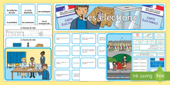 Pack de resources : Les élections - les élections, elections, bureau de vote, polling stations, candidats, candidates, affiches, élect