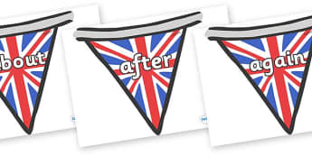 KS1 Keywords on Bunting (British) - KS1, CLL, Communication language and literacy, Display, Key words, high frequency words, foundation stage literacy, DfES Letters and Sounds, Letters and Sounds, spelling