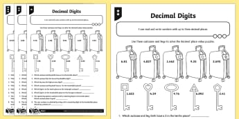 Decimal Digits Activity Sheet - Number and Place Value, worksheet, Read, write, order and compare numbers to at least 1 000 000 and