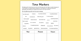 Time Markers Activity Sheet French - verbs, tense, past, present, future, reading, writing