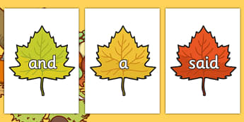 100 High Frequency Words on Autumn Leaves - High frequency words, hfw, Harvest, DfES Letters and Sounds, Letters and Sounds, Autumn, seasons,  A4, display, harvest,  harvest festival, fruit, apple, pear, orange, wheat, bread, grain, leaves, conker