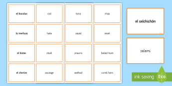 Meat and Fish Matching Cards Spanish - Spanish, Vocabulary, meat, fish, food, matching, cards