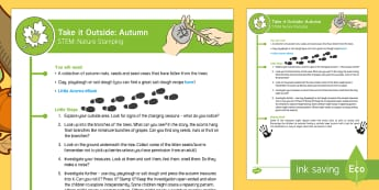EYFS Take It Outside: Autumn STEM - Nature Stamping Activity - Little Acorns, twinkl originals, fiction, Outdoor and Woodland Learning, Wonder Investigate Learn Di