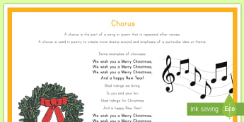 Chorus Poetry Terms Display Poster - English, poetry, chorus, Christmas, songs,Australia