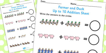 Farmer and Duck Up to 10 Addition Sheet -  farmer duck, up to 10, addition sheet, farmer duck addition sheet, 0-10, adding, numeracy, maths, themed addition
