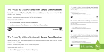 GCSE Poetry Exam Questions Pack to Support Teaching on an Extract from The Prelude by William Wordsworth - GCSE Poetry, wordsworth, the prelude, boat, revision, practice exam, edexcel, english language.