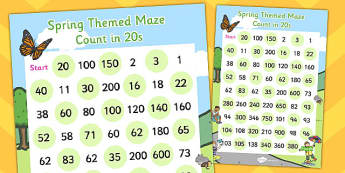 Counting in 20s Maze Activity Sheet - counting, activity, sheet, worksheet
