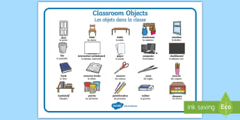 Classroom Objects French/English Word Mat - Classroom Objects French/English Word Mats - classroom objects, classroom, objects, word mat, word,