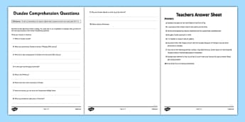 Dundee Comprehension Questions - CfE, Social Studies, Town and Cities, Scottish Cities, Dundee, Scotland, curriculm, excellence, scottish, geography, location, city, town,
