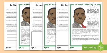 Dr. Martin Luther King, Jr. Differentiated Reading Comprehension Activity - civil rights, i have a dream, bus boycott, march on washington