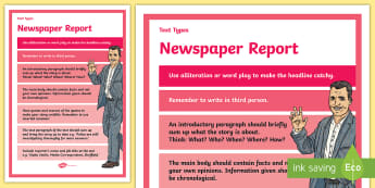 Text Types Guide Newspaper Report Display Poster - newspaper report, how to write a newspaper report, newspaper report poster, newspaper, report poster