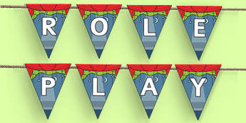 Role Play Area Display Bunting - role play area, bunting, themed bunting, display bunting, bunting flags, flag bunting, cut out bunting, paper bunting