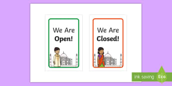 Indian Restaurant Open and Closed Signs Display Sign  - Indian Restaurant Role Play Pack - Indian restaurant, role play, pack, curry, food, takeaway, Indian