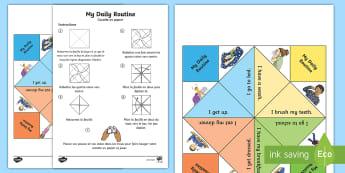 Cocotte en papier : Ma routine quotidienne - Anglais LV - Langues Vivantes, English, Daily, Routine, Quotidien, Quotidienne, Cycle 3,French
