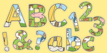 Farm Themed Display Lettering Pack - a squash and a squeeze, julia donaldson, a tight squeeze, display lettering