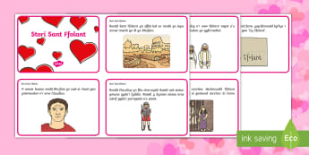 Cardiau Trefnu Stori Sant Ffolant - sant ffolant,  Dydd San Ffolant St Valentine's Day,cardiau stori, stori sant ffolant,cardiau trefnu,Welsh