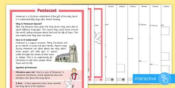 KS1 Pentecost Differentiated Comprehension Go Respond Activity Sheets - KS1 Pentecost (4.6.17), year 1, year 2, KS1, reading comprehension, reading, comprehension, Christia