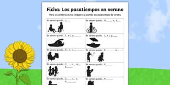 summer, spanish, vocabulary, practise, practice, worksheet