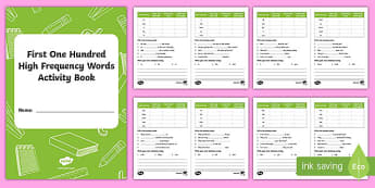 Hundred High Frequency Words Activity Book - words, high frequency words, HF words, spelling, writing