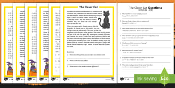 The Clever Cat Differentiated Reading Comprehension Activity English/Mandarin Chinese - Halloween, october, festival, autumn, celebration, spooky, EAL