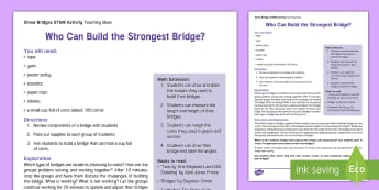 Building Bridges STEM Teaching Ideas  - Science, technology, engineering, mathematics, math, bridges, arch, truss, suspension cables,