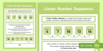 Linear Number Sequences Display Poster - working wall, maths display, classroom display, algebra, year 6, number pattern, linear number patte